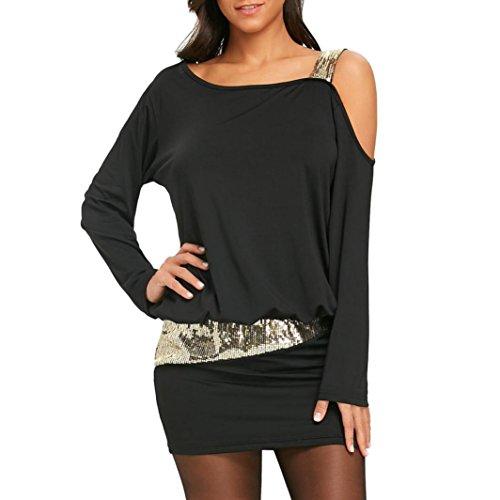 OVERDOSE Damen Mode Frauen trägerlosen Kalten Schulter Pailletten Bling Mini Blusenkleid Party Minikleid Abendkleid(A-Black,L)