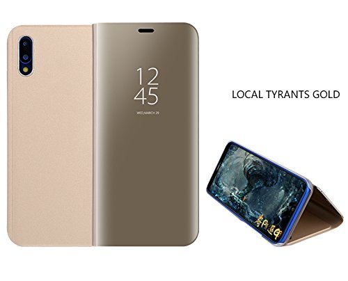 Huawei P20 Lite Spiegel-Design Case Cover Überzug Spiegel Horizontale Flip Leder Tasche mit Schlaf/Wake-up-Funktion für Huawei P20 Lite (Gold) (Cover Case Spiegel)