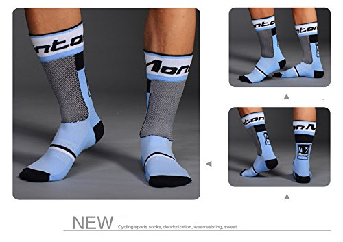 Liyoung Calcetines Ciclismo Ciclismo,Corriendo,Senderismo, Maratón, Triatlón 1 PACK (Calcetines azules)