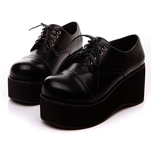 balamasa robe en dentelle Up Talons Pompes Chaussures massif Noir - noir