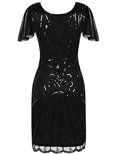 Kayamiya 1920er Jahre Flapper Kleider mit Ärmeln Pailletten Art Deco Cocktail Gatsby Kleid 36-38 Schwarz - 3