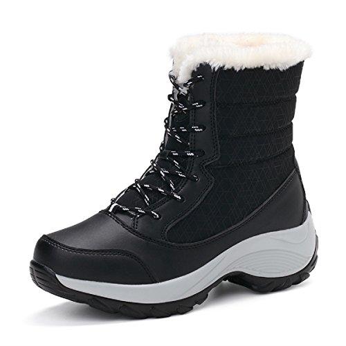 LILY999 Botas de nieve mujer forradas de Botas de invierno cómodas(Negro, EU40)