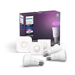 Philips Hue White & Col. Amb. E27 3er Starter Set 3x806lm Bluetooth, 2x SmartButton