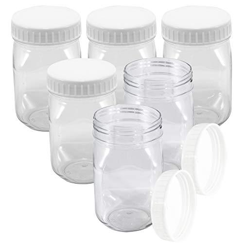 Klarsichtige Kunststoffdosen mit Schraubdeckel, mit breiter Öffnung, BPA-frei, 6 Stück (Food Container Mit Schraubdeckel)
