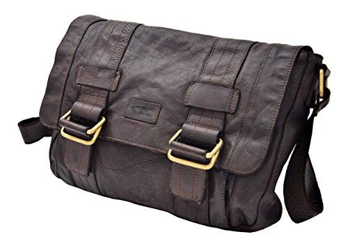 Menzo Umhängetasche aus echten Leder, Washed-Look, Schultertasche, Handtasche Vintage,