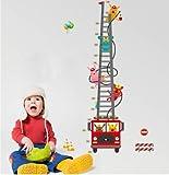 Ufengke Dessin Animé Camion De Pompiers Pompier Toise Stickers Muraux, Chambre Des Enfants Pépinière Autocollants Amovibles
