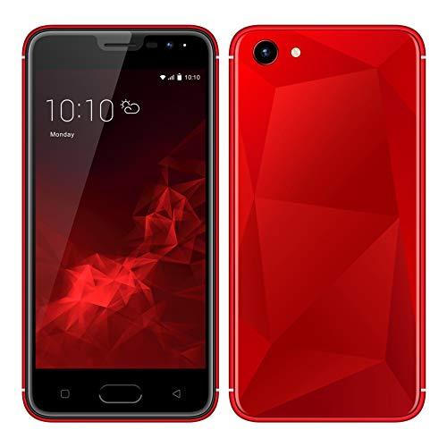 Móviles y Smartphones Libres, Unlocked 3G Teléfono Móvil Libre y sin Bloqueo de SIM, 5.0 Pulgadas con Pantalla HD Procesador (5.0MP HD Cámara,Dual SIM,1GB RAM & 4GB ROM (GPS,WiFi,Bluetooth (Rojo)