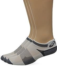 ASICS Unisex Quick Lyte Cushion Single Tab Socks (3 Pairs), White/Grey Heather, X-Large
