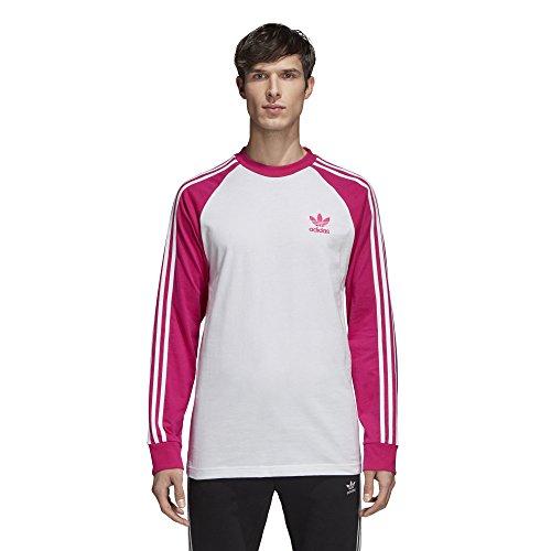 adidas Originals Men's 3-Stripes Long Sleeve Tee, Shock Pink, XL -