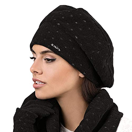 Baskenmütze Mütze Wintermütze Kopfbedeckung, Schwarz,Uni ()