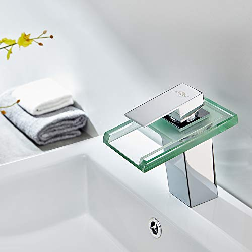 Auralum Led Waschtischarmatur Wasserfall Glas Wasserhahn mit RGB Farbewechsel Bad Badezimmer Waschbecken WC, Chrom - 4