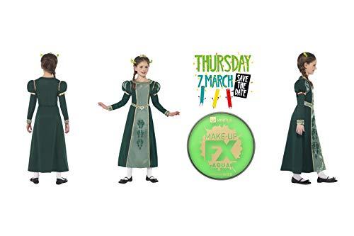 Fancy dress world dreamworks shrek - costume da principessa fiona, per bambine, con vernice verde
