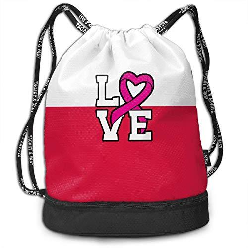 Liebe Pink Ribbon Breast Cancer Awareness Rucksack für Herren und Damen, 100% Polyester Durable Rucksack