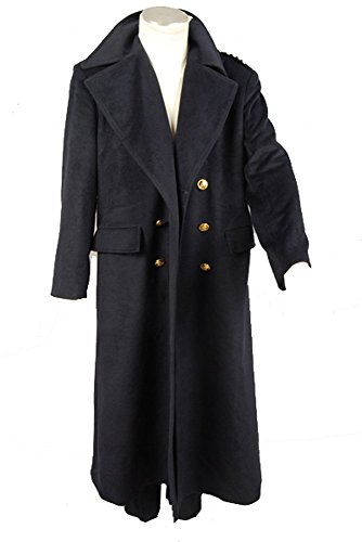 Doctor Who Dr. Dark Blue Wool Trench Coat Cosplay Kostüm Ver2 Herren (Kostüm Zehn Who Doctor)