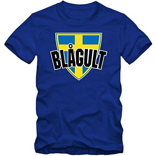 Schweden EM 2016 #4 T-Shirt | Fußball | Herren | Trikot | Blågult | Nationalmannschaft © Shirt Happenz Blau (Royalblue L190)