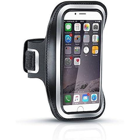 Arendo - Brazalete de deporte Apple IPhone 6 / 6s resistente al sudor | Repele el agua | Con compartimento para las llaves | Muy cómodo gracias a la longitud regulable | Tiras reflectantes incluidas | Brazalete de deporte en color