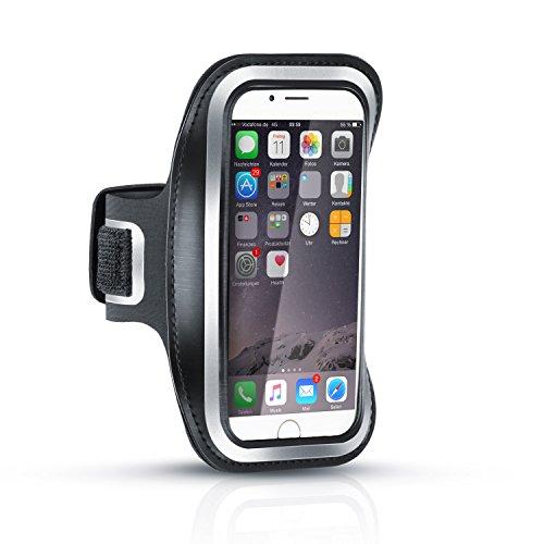 Arendo - Schweißbeständiges Fitness-Armband kompatibel mit Apple iPhone 6 / 6s | Wasserabweisend | mit Schlüsselfach | hoher veränderbare Länge | inkl. Reflektorstreifen | Sportarmband in schwarz