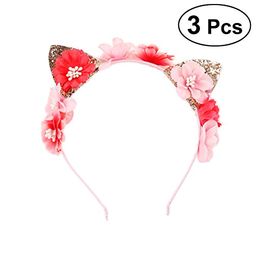 3 piezas de oreja de gato diadema elegante flor Hairband Party Hair Hoop tocado para mujeres niñas