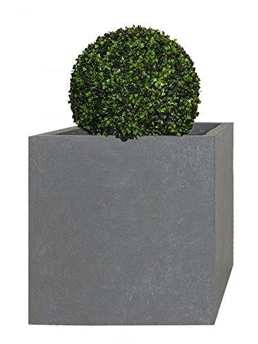 PFLANZWERK® Pflanzkübel Fiberglas XXL CUBE Grau 53x65x65cm *Frostbeständiger Pflanzkübel* *UV-Schutz* *Qualitätsware*