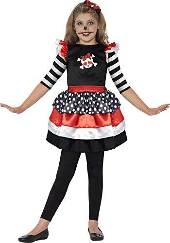 Girl Cat Kitty Kostüm (Smiffys Kinder Skully Girl Kostüm, Kleid und Stirnband, Größe: S,)