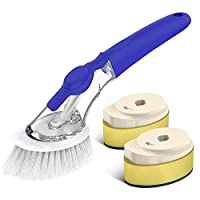 Binchil Soap Dispensing Dish Brush, Kitchen Dish Cleaning Brush Pot Scrubber Cleaner with Non-Slip Handle, Extra 2 Sponge Brush Heads (Blue)