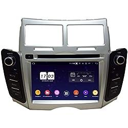 (Argenté) Android 9.0 GPS Voiture Autoradio pour Toyota Yaris(2005-2011), 4 Go RAM 32 Go ROM, 6.2 Pouces Ecran Tactile Auto Lecteur DVD Bluetooth
