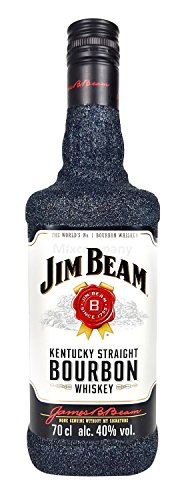 Jim Beam Bourbon Whiskey 70cl (40% Vol) Bling Bling Glitzerflasche in schwarz -[Enthält Sulfite]