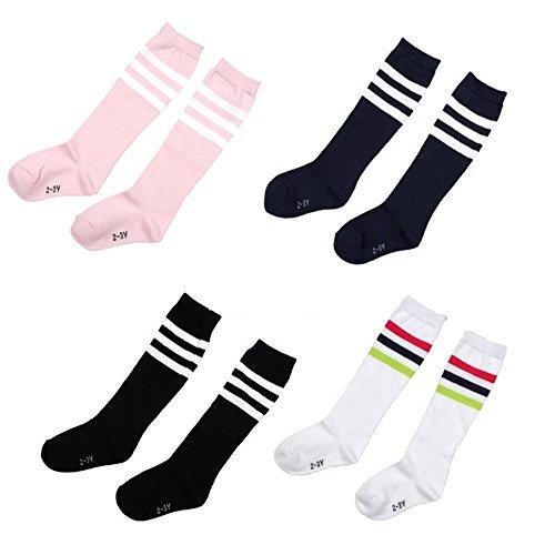 Hugestore 4paia bambini Stripe addensare calzettoni lunghi calzini di cotone, 4-5 (Bow Calzini)