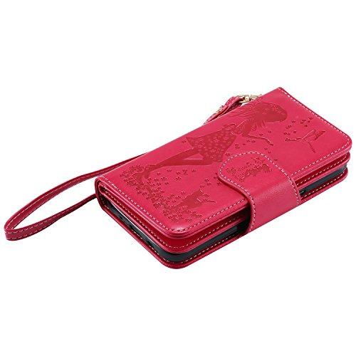Coque pour Apple iPhone 6 plus/6s Plus 5.5,Ecoway Femme et chat 3D en relief étui en cuir PU Cuir Flip Magnétique Portefeuille Etui Housse de Protection Coque Étui Case Cover avec Stand Support Avec d Red