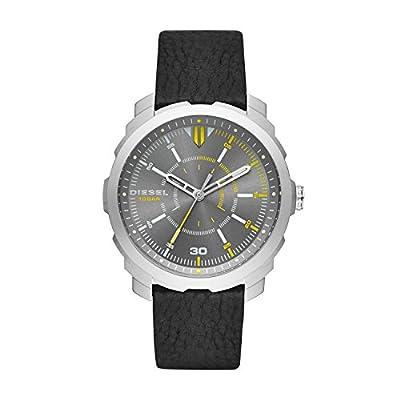 Diesel Machinus - Reloj análogico de cuarzo con correa de cuero para hombre, color negro/gris