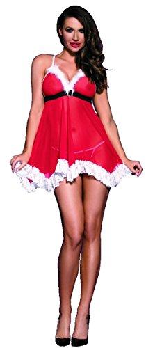 krautwear Damen Weihnachts Babydoll Hemdchen Dessous Sexy Sinnliches Rotes Xmas Set mit String in toller Geschenkbox (116)