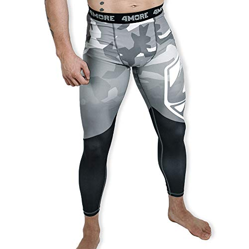 4More® (K2 - Herren Trainingshose, Kampfsport Kompressionshose, Sporthose 'COMPACT' React (XL, schwarz/grau)