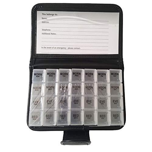 Pillendose für 7 Tage Tabletten, Tablettenbox, 28 Stück -