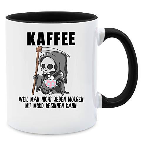 Tasse mit Spruch - Weil man nicht jeden Morgen mit Mord beginnen kann - Unisize - Schwarz - Q9061 - Kaffee-Tasse inkl. Geschenk-Verpackung
