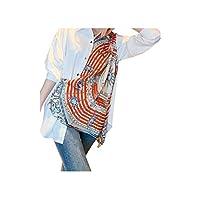 DUe Women Colorful Half Sleeve Print Stylish Turn Down Collar Tunic Top Blouse White XL