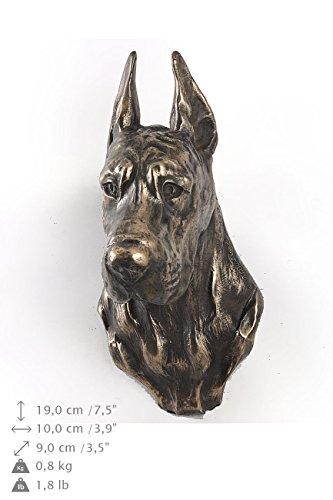 Great Dane (cropped), Hund, Bronze, Statue an der Wand, hängen, Limitierte Edition, Art Dog