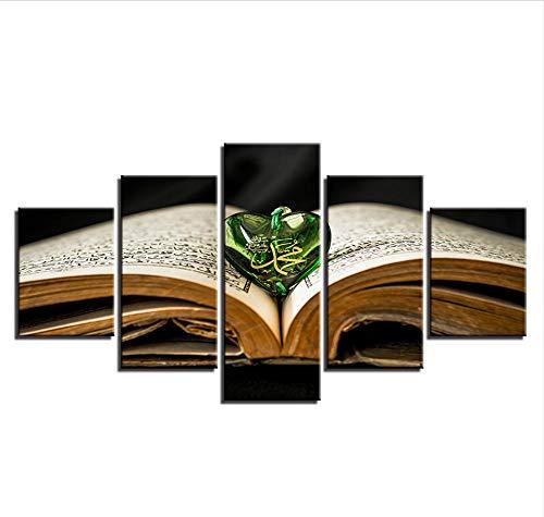 GTomorrow Leinwandbilder, Bilder Auf Leinwand, Heiliges Buch Allah Der Koran Anhänger Muslim 5-Teilig, Wandbilder Wohnzimmer Wohnung Deko Fertig Zum Aufhängen 200X100Cm