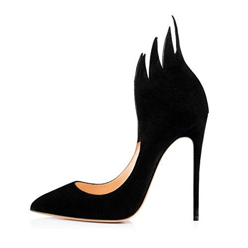Damen Elegante Pumps Hohe Absatz Tanzen Stiletto Spitze Zehenkappe Komfort mehrfarbige rote Sohle Lady Schuhe Schwarz