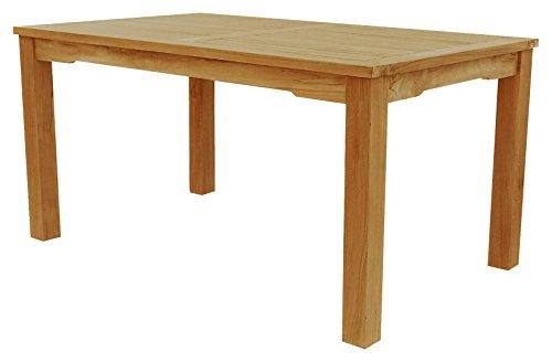 Tisch mit festen Beinen 150x 90x75 cm aus unbehandelten Teakholz, stabil, hochwertig langlebig