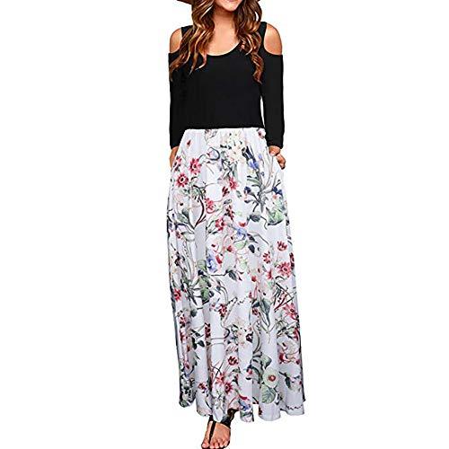 JiaMeng Heißer Frauen Damen Cold Shoulder Blumendruck Elegante Maxi Langarm Kleid mit Tasche