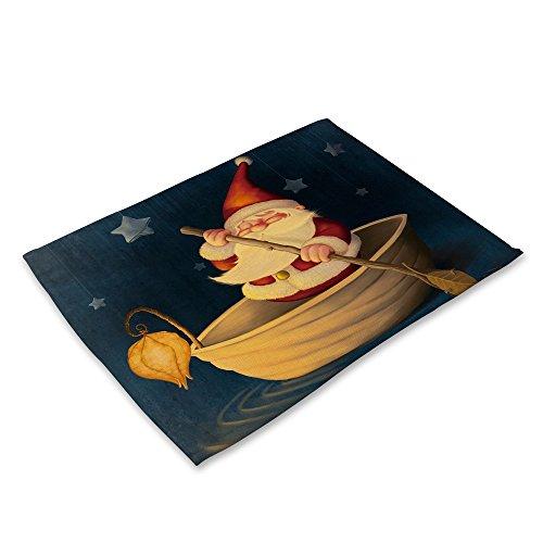 LoveLeiter Weihnachten Tischset Matte Dekoration Home Party Weihnachten Esstisch Cartoon Tischdecke Antibakteriell SchüSsel Gabel Restaurant Rutschfeste Dinner KüChe Platzdeckchen(D)