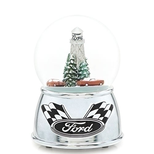 Römischen Ford Motor Co Racing Cars Winter Urlaub Snow Globe Dome Spielt Musical Drive My Car 15,2 cm (Dome Musical)