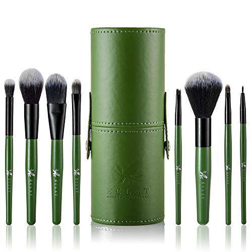 Pennelli per make up set da 8 pz con astuccio Eclat - Pennelli per make up morbidissimi durevoli con manico in vero legno set da 8 pz con astuccio rigido per un make up che dura a lungo