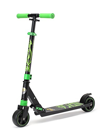 STAR-SCOOTER® Monopattino da Gioco richiudibile con gomme Extra Larghe per Ragazzi Cool a Partire da ca. 4-5 Anni ★ Monster Wheel Edition ★ Nero & Verde