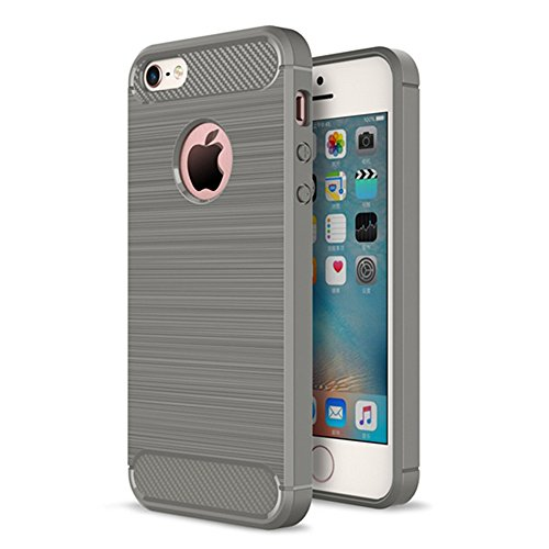 Xelcoy® Rugged Armour Shockproof Soft TPU Carbon Fibre Brushed Metallic Texture Case Cover for iPhone 5 5s - Grey  available at amazon for Rs.299