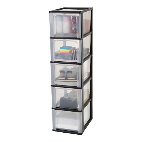 Iris Organizer Chest OCH-2500 Schubladencontainer-/ schrank, Kunststoff, schwarz / transparent, 35,5 x 26 x 99,5 cm