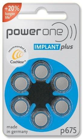 6 St. Power One IMPLANT plus Batterien - speziell für Cochlear Implantate (Cochlear-batterien)