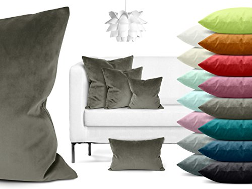 Samtkissenhülle in einfarbigem Design erhältlich in 15 modischen Farben und in 4 verschiedenen Größen, taupe, ca. 60 x 60 cm