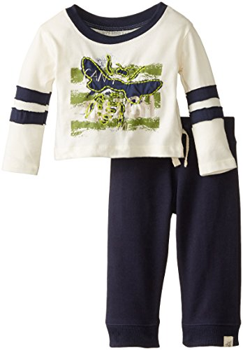 Burt's Bees Baby Baby-Boys Newborn Organic Can't Catch Me Tee and French Terry Sweat Pant, Ivory, 6 Months