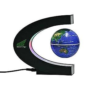Magnetic Levitation Floating World Map Globe With Led Lights For Learning Education Teaching Demo Home Office Desk Decoration (C Shape + Blue Globe)
